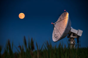 radio telescope and moon
